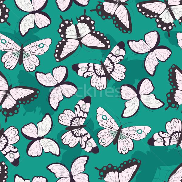 Vektör desen renkli kelebekler yeşil Stok fotoğraf © BlueLela