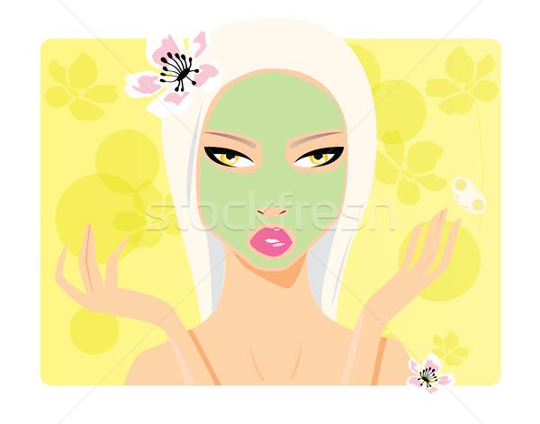 Beautiful girl beleza cosméticos cara cabelo máscara Foto stock © BlueLela