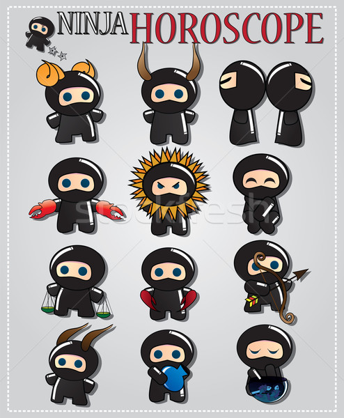 Zodiac signs with cute ninja characters in different colors Stock photo © BlueLela
