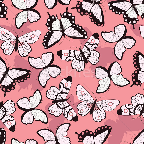Seamless vector pattern with hand drawn colorful butterflies, pi Stock photo © BlueLela