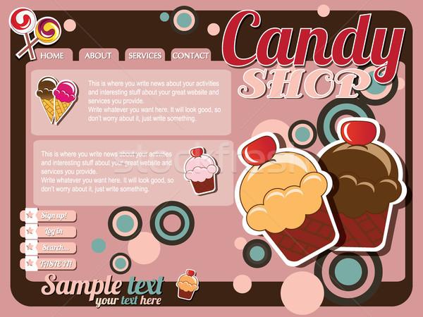 Website sjabloon ontwerp communie snoep winkel Stockfoto © BlueLela