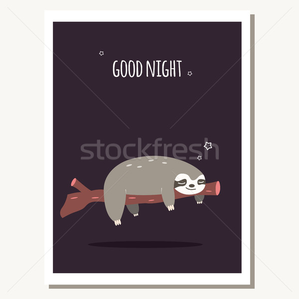 Stock photo: Greeting card with cute lazy sloth and text message