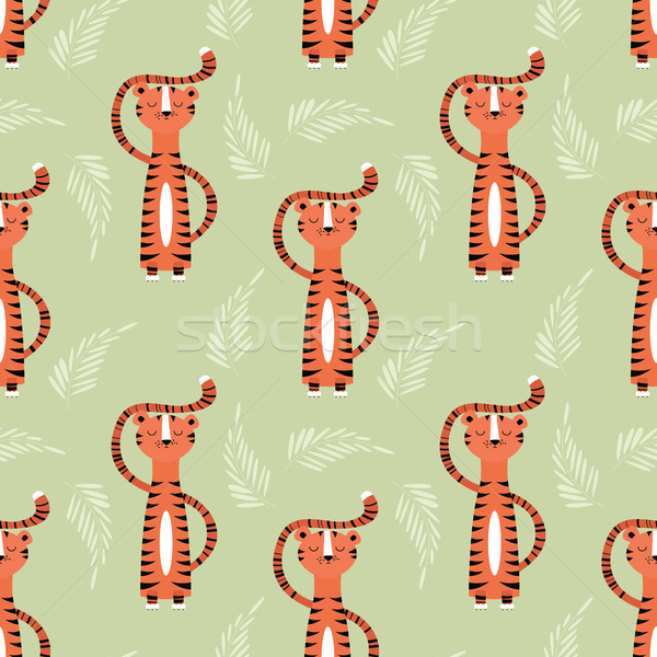 Seamless pattern with cute jungle orange tiger Stock photo © BlueLela