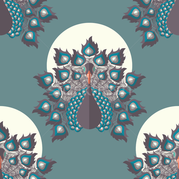 Seamless pattern with colorful peacock birds and feathers, hand  Stock photo © BlueLela