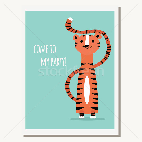 Greeting card with cute tiger and text message Stock photo © BlueLela