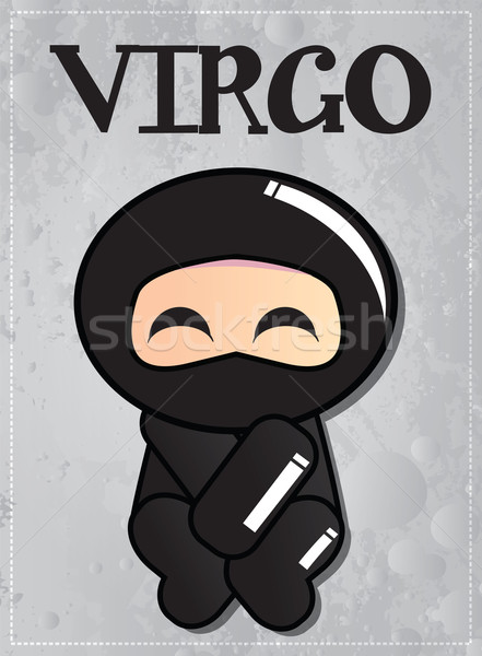 Сток-фото: зодиак · знак · Cute · черный · ниндзя · характер