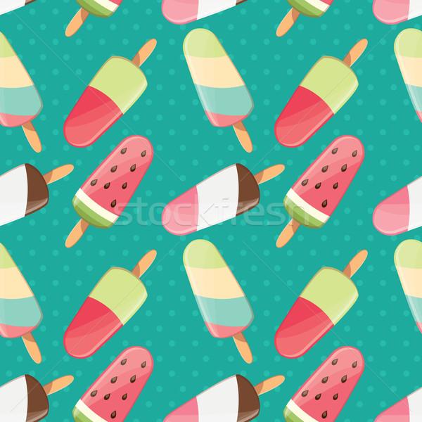 Fagylalt végtelen minta színes nyár finom édes Stock fotó © BlueLela