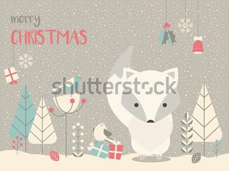 Aranyos karácsony álmos baba róka virágmintás Stock fotó © BlueLela