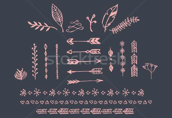 Hand drawn vintage arrows, feathers, dividers and floral elements Stock photo © BlueLela