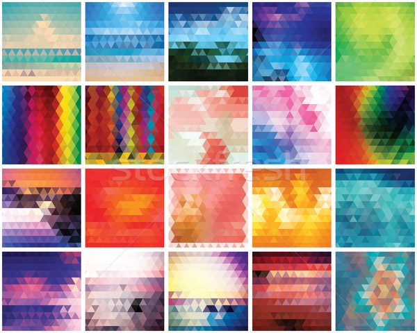 Collection of 20 abstract triangles backgrounds, pattern design, Stock photo © BlueLela