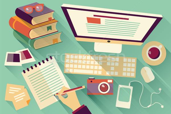 Stock photo: Flat design objects, work desk, long shadow, office desk, comput