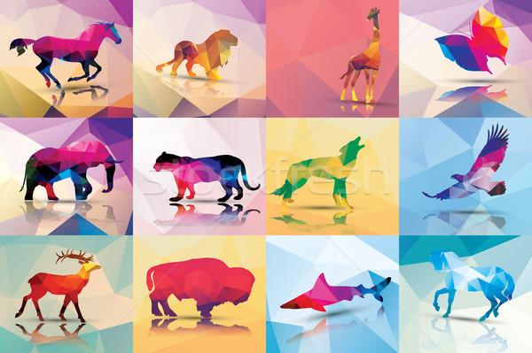コレクション 幾何学的な ポリゴン 動物 馬 ライオン ストックフォト © BlueLela