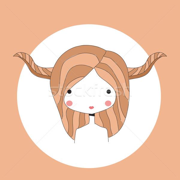 Horoscope Taurus sign, girl head Stock photo © BlueLela