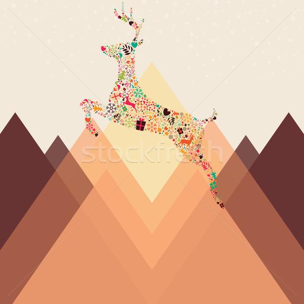 Noel ren geyiği dağlar gökyüzü moda Stok fotoğraf © BlueLela