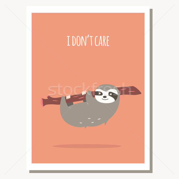 Greeting card with cute lazy sloth and text message Stock photo © BlueLela