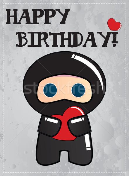 Boldog születésnapot kártya aranyos rajz nindzsa karakter Stock fotó © BlueLela