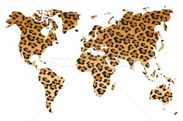 World map in animal print design, leopard pattern, vector illust Stock photo © BlueLela