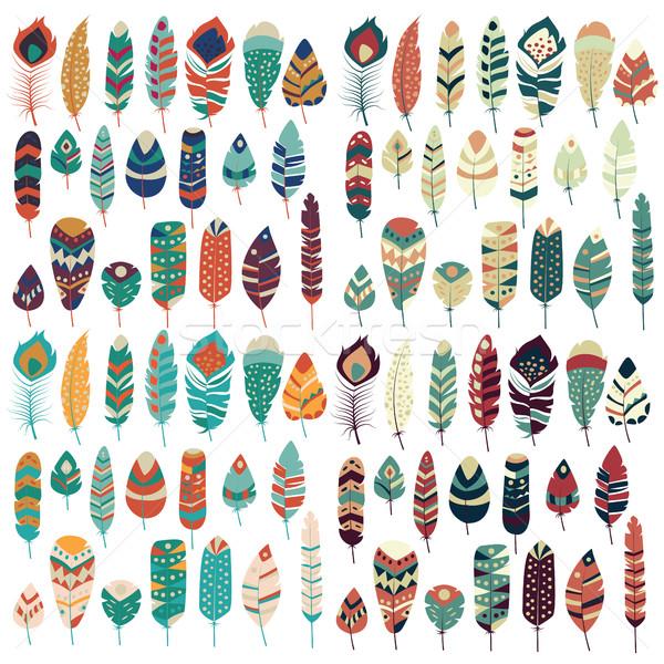 коллекция Vintage племенных этнических рисованной красочный Сток-фото © BlueLela
