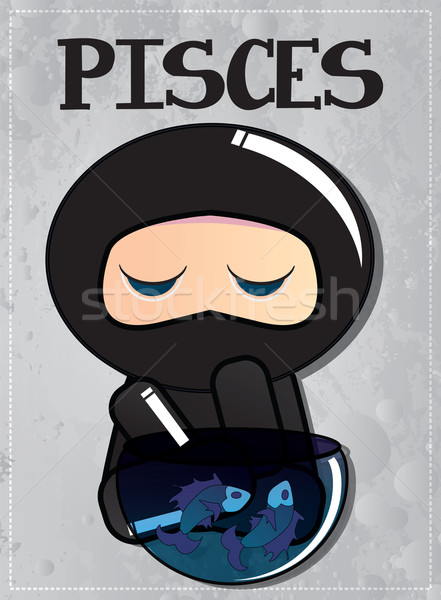 Zodiac sign Pisces with cute black ninja character, vector Stock photo © BlueLela