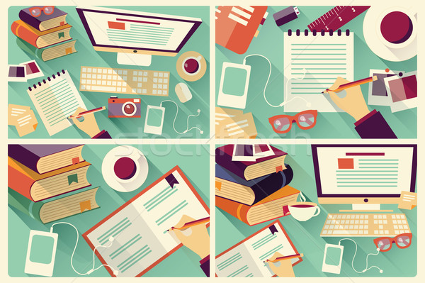 Collection of four flat work desks, long shadow, office desk, computer and stationery, vector illust Stock photo © BlueLela