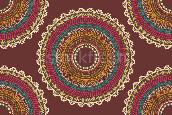 Ethnic Aztec circle ornament seamless pattern Stock photo © BlueLela