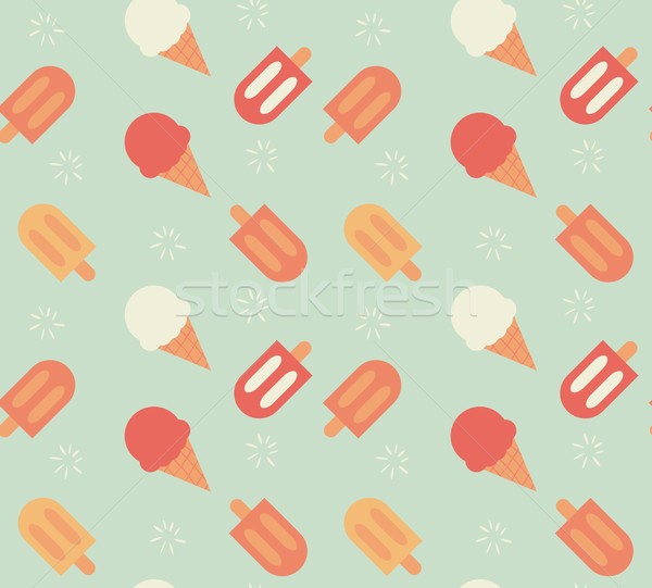 Seamless pattern with hand drawn ice cream Stock photo © BlueLela