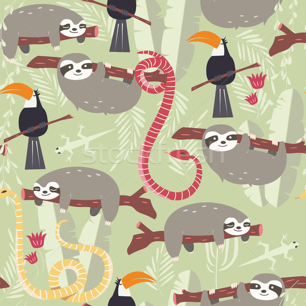 Seamless pattern with cute rain forest animals, toucan, snake, sloth Stock photo © BlueLela