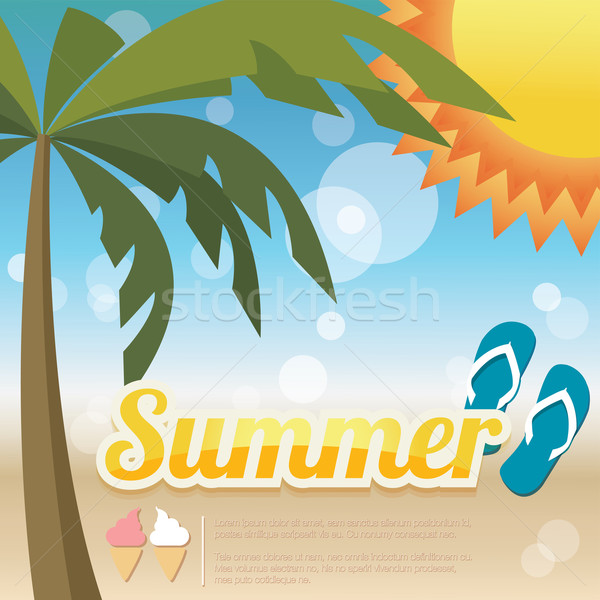 Summer holiday card with palm trees and flip flops, vector Stock photo © BlueLela