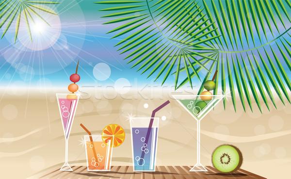 印刷 夏休み カード カクテル 美しい ビーチ ストックフォト © BlueLela