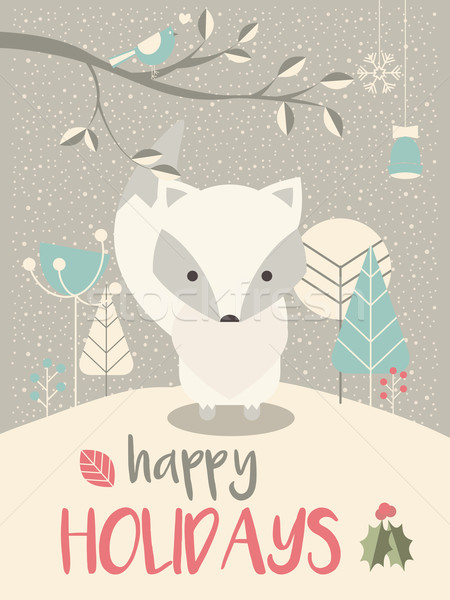 Cute Arctic Christmas baby fox surrounded with floral decoration, vector illustration Stock photo © BlueLela