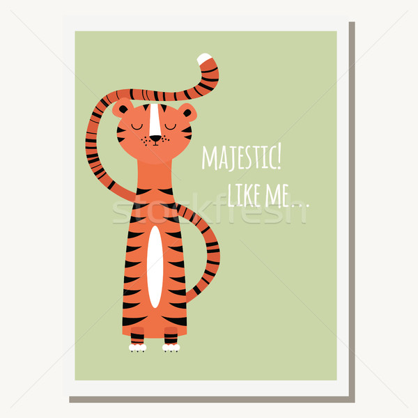 üdvözlőlap aranyos tigris szöveges üzenet boldog terv Stock fotó © BlueLela