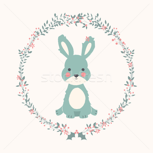 Cute baby bunny rabbit in Christmas flower and branch wreath Stock photo © BlueLela