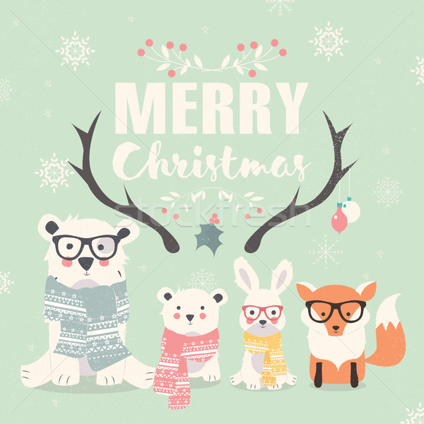Merry Christmas lettering with hipster polar bears, fox and rabb Stock photo © BlueLela