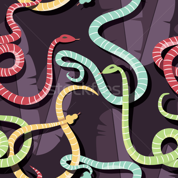 Seamless pattern with colorful intertwined striped rain forest snakes Stock photo © BlueLela