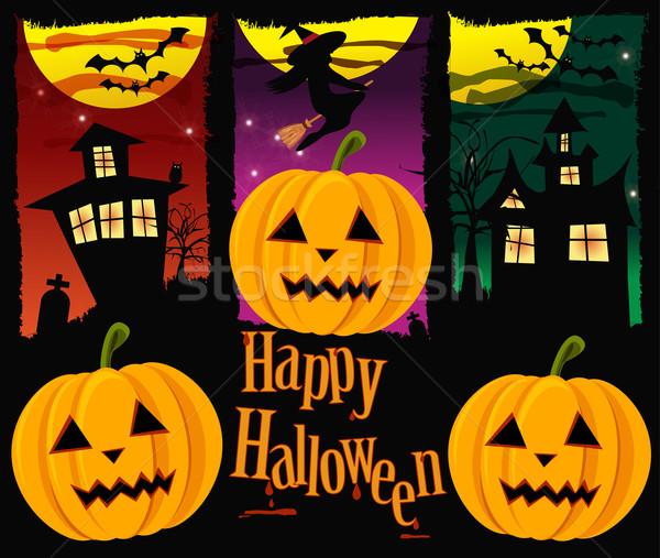 Halloween banners vetor árvore festa projeto Foto stock © BlueLela