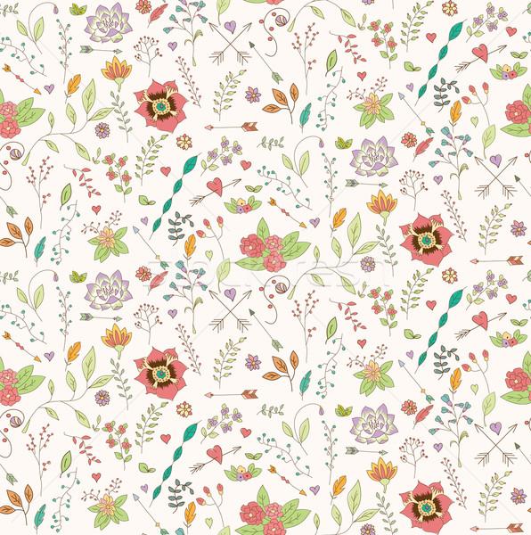 Bohemien Hand gezeichnet Blumen Herz Rahmen Stock foto © BlueLela