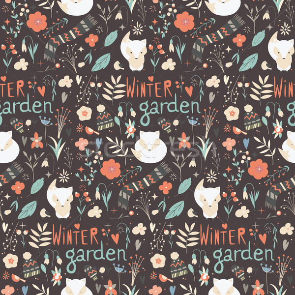 Stock photo: Seamless pattern with winter garden flowers, foxes and scarf, ha