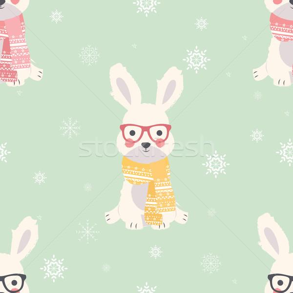 Naadloos vrolijk christmas patronen cute polair Stockfoto © BlueLela