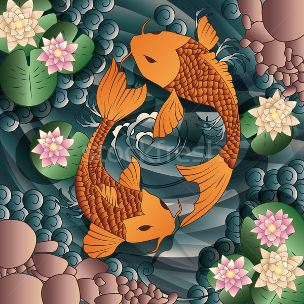 Carp Koi fish swimming in a pond with water lilie Stock photo © BlueLela