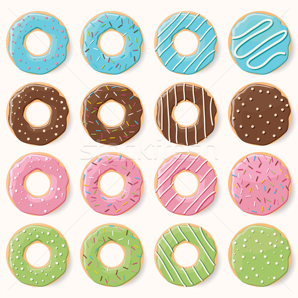 Collection of sixteen glazed colorful donuts with different flavors, vector illustration Stock photo © BlueLela