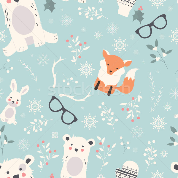 Seamless Merry Christmas patterns with cute polar animals, bears Stock photo © BlueLela