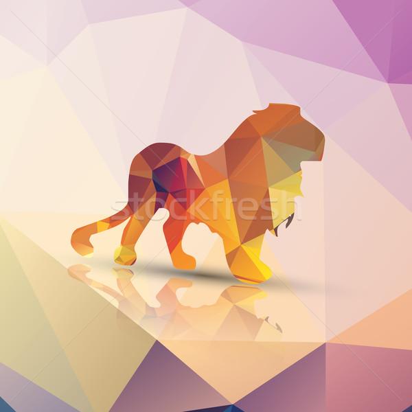 Geometrica leone pattern design carta abstract Foto d'archivio © BlueLela