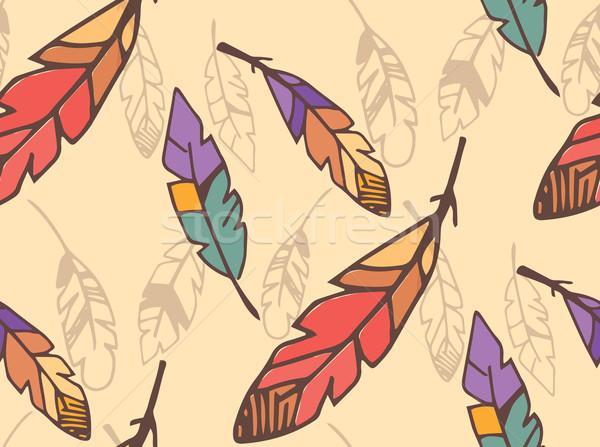 Bohemian colorful feathers, hand drawn, seamless pattern Stock photo © BlueLela