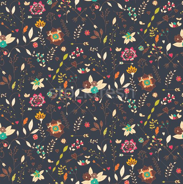 Bohemien Hand gezeichnet Blumen Frühling Herz Stock foto © BlueLela