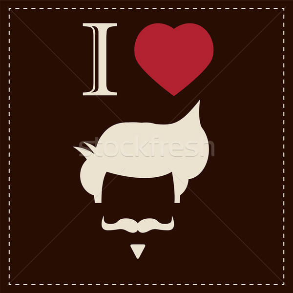 I love vintage hipster hair style and mustache, vector illustrat Stock photo © BlueLela