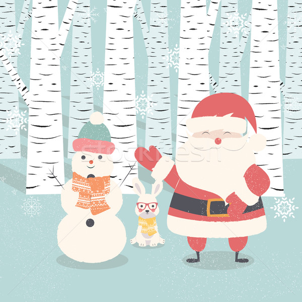 Merry Christmas postcard with Santa Claus, snowman, rabbit in fo Stock photo © BlueLela