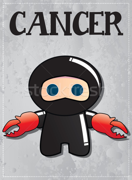 Zodiac sign Cancer with cute black ninja character, vector Stock photo © BlueLela