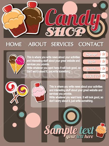 Website sjabloon communie vintage stijl snoep Stockfoto © BlueLela