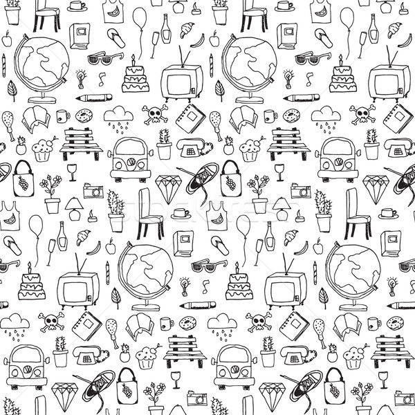Everyday things, handdrawn, black and white, seamless pattern Stock photo © BlueLela