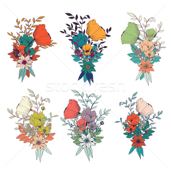 Hand drawn flower bouquets, for wedding invitations and birthday Stock photo © BlueLela